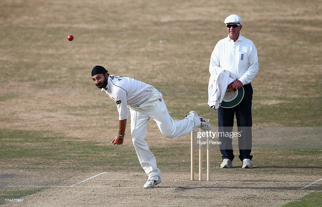 Monty Panesar of Sussex bowls during Day One of the Tour Match between Sussex and Australia at The County Ground on July 26, 2013 in Hove, England.