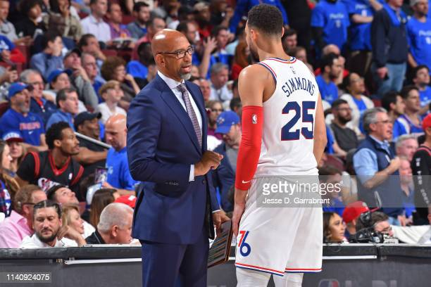 Monty Williams and Ben Simmons of the Philadelphia 76ers talk during Game Three of the Eastern Conference Semifinals on May 2 2019 at the Wells Fargo...