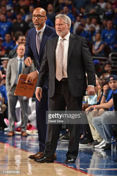 Monty Williams and Brett Brown of the Philadelphia 76ers coach during Game Three of the Eastern Conference Semifinals of the 2019 NBA Playoffs on May...
