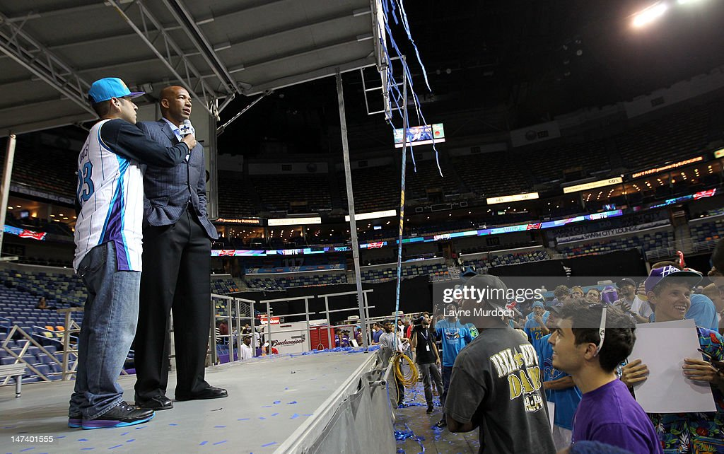 Monty Williams, head coach of the New Orleans Hornets addresses fans after his team selected Anthony Davis of Kentucky with the 1st overall selection and Austin Rivers with the 10th pick in the 2012 NBA draft on JUNE 28, 2012 at the New Orleans Arena in New Orleans, Louisiana.