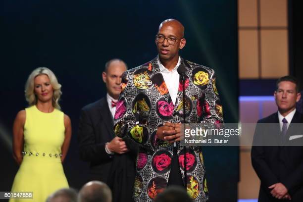 Monty Williams receives the Sager Strong Award at the NBA Awards Show on June 26 2017 at Basketball City at Pier 36 in New York City New York NOTE TO...