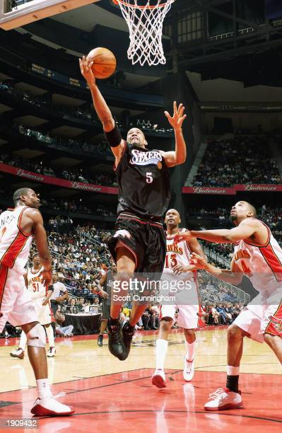 Monty Willimas of the Philadelphia 76ers goes up for a shot against the Atlanta Hawks during the game at Philips Arena on March 29 2003 in Atlanta...