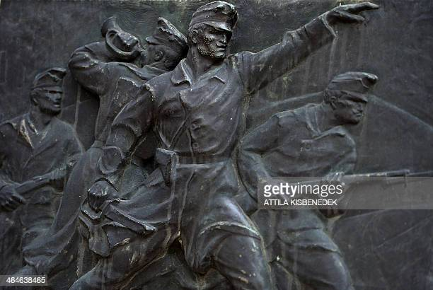 A WW1 monument commemorates the 18th batallion of the infantry regiment of the Hungarian Army in Sopron Hungary on January 23 2014 The monument by...