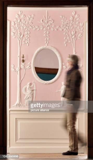 Monument conservationist Annette Scholtka views the freshly restored suite of courtier Princess Louise von AnhaltDessau at Woerlitz Palace in...