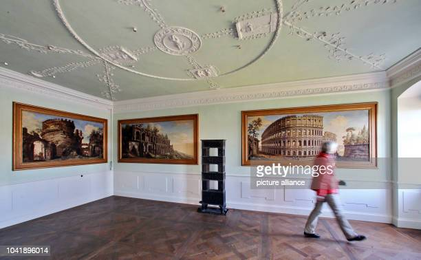Monument conservationist Annette Scholtka views the freshly restored suite with Roman motive of Prince Johann Georg younger brother of Prince Franz...