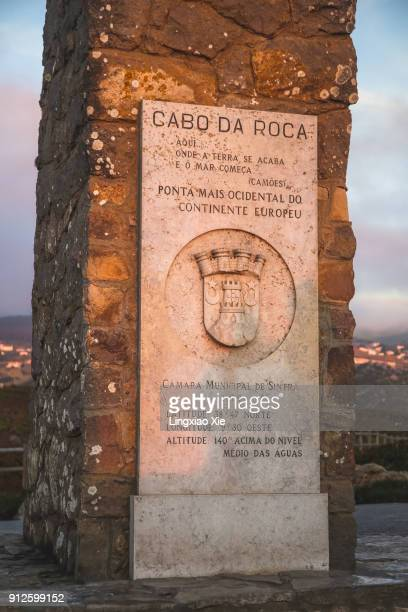 Monument declaring Cabo da Roca as the end of Europe, Sintra, Portugal