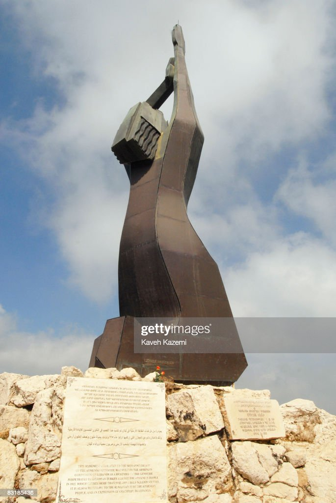 A monument dedicated to Armenian genocide by Ottoman Turks in 1915 is erected in an Armenian monestary in Bikfaya on the outskirts of Beirut on August 12, 2008. Armenians are one of the religious minorities in Lebanon.