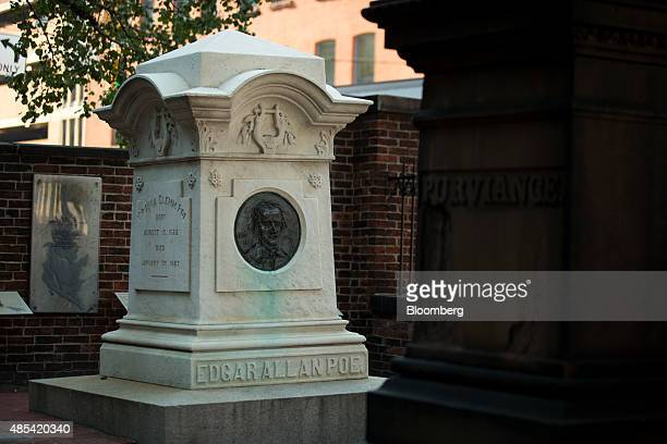 Monument dedicated to author Edgar Allen Poe stands in the Westminster Hall burying ground in Baltimore, Maryland, U.S., on Wednesday, Aug. 26, 2015....