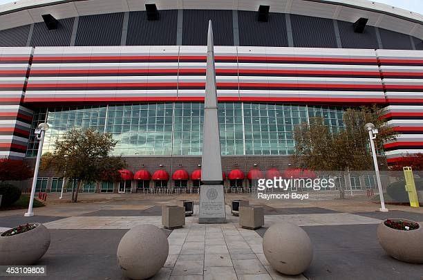 Monument dedicated to Georgia Veterans, stands outside the Georgia Dome, home of the Atlanta Falcons football team in Atlanta, Georgia on NOVEMBER...