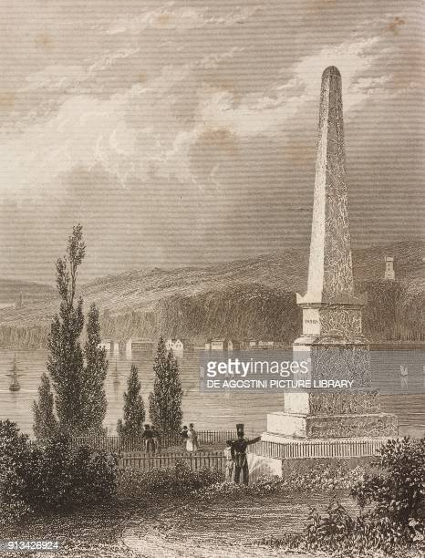 Monument dedicated to James Wolfe and LouisJoseph de MontcalmGozon Quebec Canada engraving by Lemaitre from Histoire des Antilles by Elias Regnault...