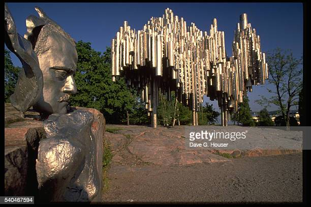 A monument dedicated to the Finnish composer Jean Sibelius created by Eila Hiltunen in Helsinki Finland