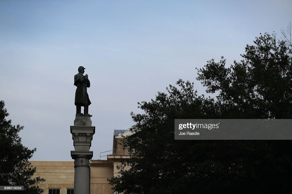 A monument featuring a statue of a Confederate soldier is seen in Hemming Park in the midst of a national controversy over whether Confederate symbols should be removed from public display on August 20, 2017 in Jacksonville, Florida. The issue is at the heart of a debate about race in America brought to the fore in the recent protest in Charlottesville, Virginia which turned deadly as white-supremacists clashed with counter-demonstrators over a Confederate statue.