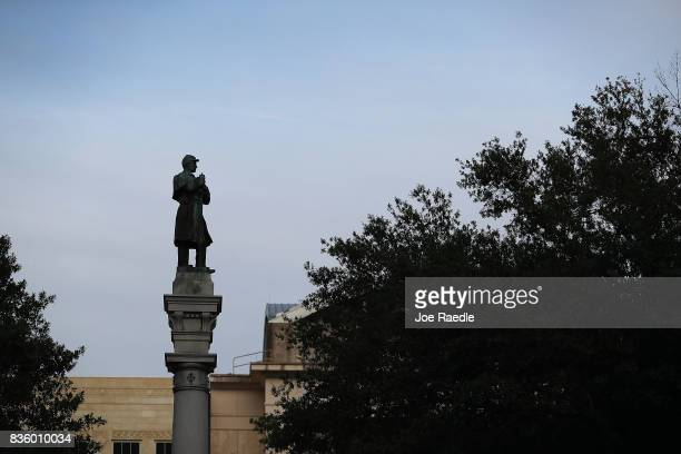 Monument featuring a statue of a Confederate soldier is seen in Hemming Park in the midst of a national controversy over whether Confederate symbols...