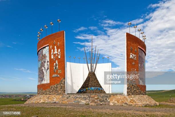 monument for mongol states in mongolia - gwengoat stock pictures, royalty-free photos & images