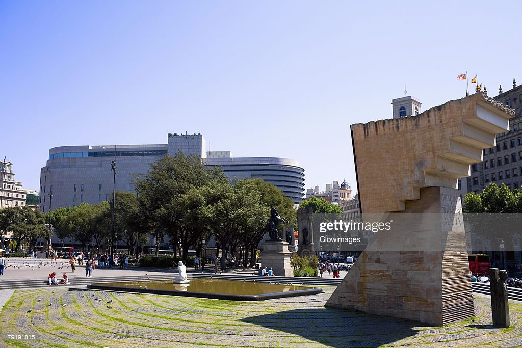 Monument in a city, Barcelona, Spain : Stock Photo