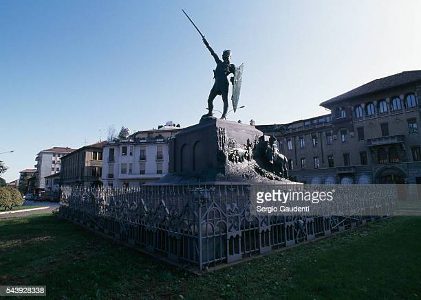 A monument in honor of Alberto da Giussano in Legnano Guissano was a 12thcentury warrior during the wars of the Lombard League an alliance that...