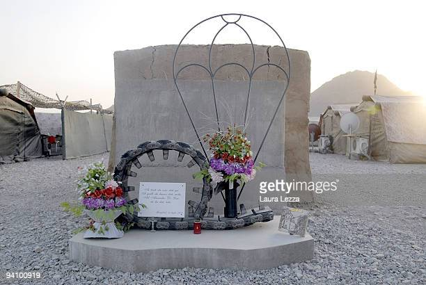 Monument in memory of Corporal Alessandro Di Lisio in Italian FOB Base on September 15 in Farah Afghanistan The Corporal Alessandro Di Lisio...