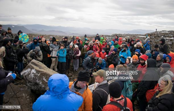 A monument is unveiled at the site of Okjokull Iceland's first glacier lost to climate change in the west of Iceland on August 18 2019