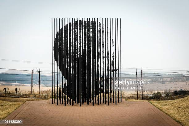 TOPSHOT A monument made of 50 steel columns and entitled 'Release' by South African artist Marco Ciafanelli representing the 27 years behind bars of...