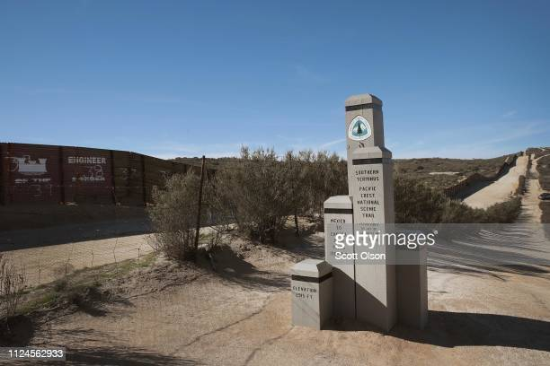 A monument marking the Southern Terminus of the Pacific Crest Trail sits along the USMexico border on January 24 2019 near Campo California The trail...