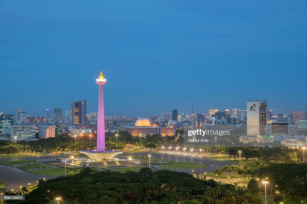 Monument National  Monas Blue Hour - Jakarta and Indonesia Landmark : Stock Photo