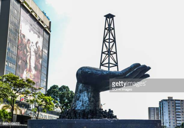 A monument of a oil production tower ceen in Caracas The future of the oil subsidiary in Venezuela is uncertain after the country accusing its former...