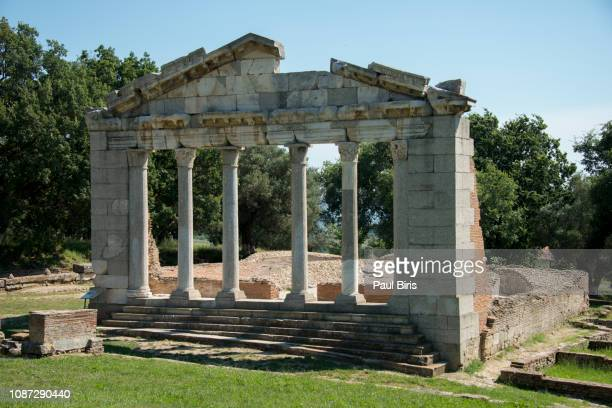 monument of agonothetes in ruins of an ancient greek city of apollonia , fier county, albania - greece v albania stock pictures, royalty-free photos & images