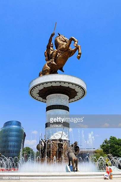 monument of alexander the great - syolacan stock pictures, royalty-free photos & images