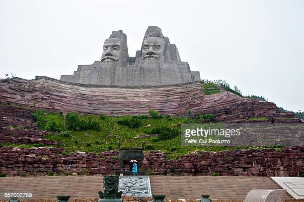monument of emperors yan and huang zhengzhou china - emperor stock pictures, royalty-free photos & images