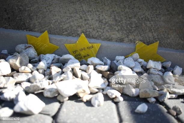 A monument of Jewish victims at the former Plaszow concentration camp during the March of Remembrance commemorating 74 anniversary of liquidation of...