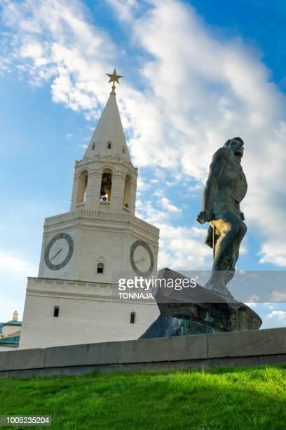 Monument of Musa Jalil and Spasskaya Bashnya, Kazan Kremlin, Russia
