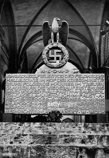 Monument on the Munich Feldherrnhalle Germany 1936 Monument commemorating the failed Nazi Beer Hall Putsch of 9 November 1923 A print from Adolf...