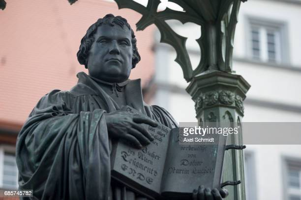 A monument shows Martin Luther on May 20 2017 in Wittenberg Germany Wittenberg and Berlin are hosting a church congress next week to celebrate the...