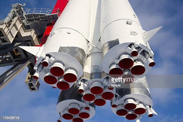 "monument space transport rocket ""vostok"" in moscow - russian culture stock pictures, royalty-free photos & images"