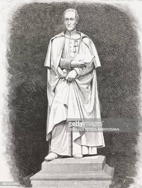 Monument to Antonio Rosmini Italian philosopher and priest statue by Vincenzo Consani Rovereto Italy engraving from a photograph by Barberis from...