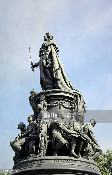monument to catherine the great - catherine the great of russia stock photos and pictures