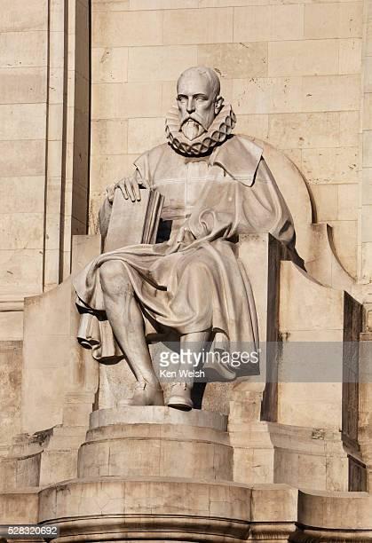 Monument To Cervantes In Plaza De Espana Statue Of Miguel De Cervantes; Madrid Spain