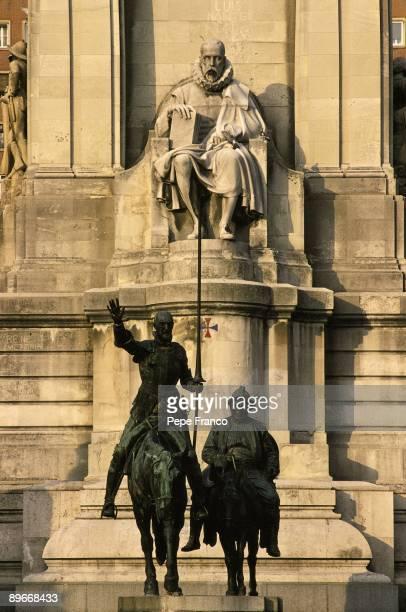 Monument to Cervantes Madrid Statue of Cervantes Don Quixote and Sancho in the Espana Square