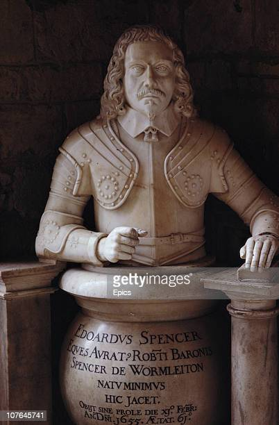 A monument to Edward Spencer of Wormleighton Warwick in St Mary's Church in the hamlet of Great Brington Althorp Northampton circa 1968