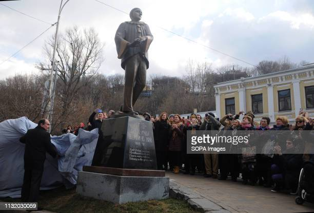 Monument to film actor composer poet and singer Alexander Vertinsky seen on Andriyivsky Descent during the opening A monument to the entertainer film...