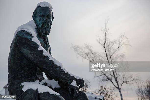 A monument to Fyodor Dostoevsky a famous classic Russian writer by a sculptor Mikhail Pereyaslavets in the city of Tobolsk Russia The monument was...
