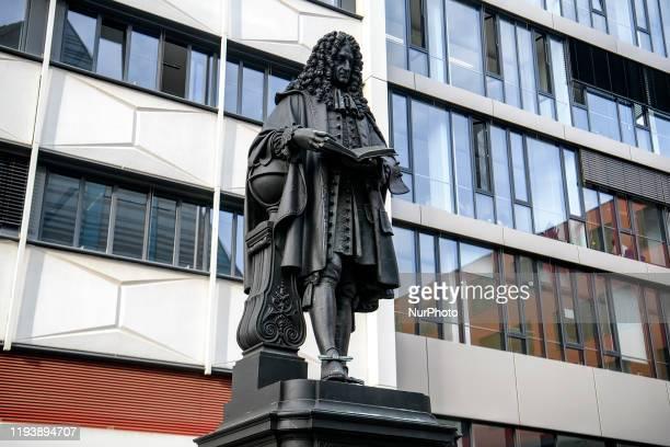 Monument to Gottfried Wilhelm Leibniz in the courtyard of Leipzig University, Leipzig, Germany, on 27th November 2019.