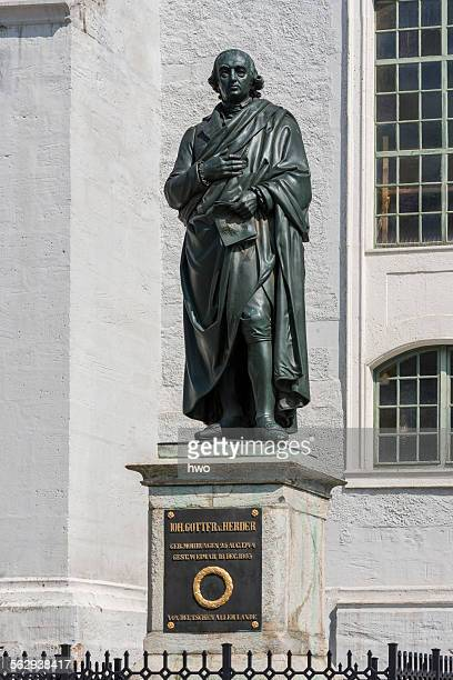 Monument to Herder, 1850, Herderplatz square in front of Herderkirche Church, bronze by sculptor Ludwig Schaller, Weimar, Thuringia, Germany