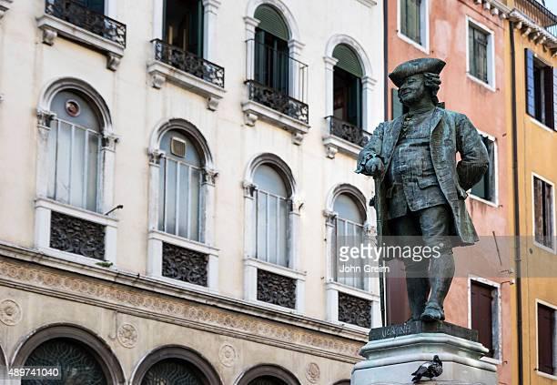 SAN MARCO VENEZIA VENETO ITALY Monument to Italian playwright Carlo Goldoni