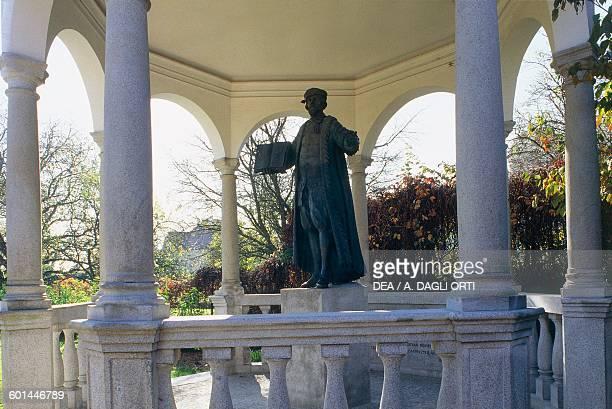 Monument to Johannes Kepler German astronomer and mathematician walk along the city walls Linz Castle Upper Austria Austria