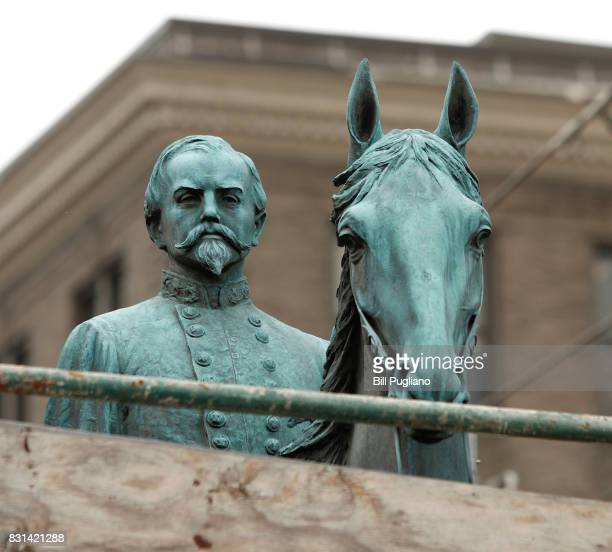 A monument to John Hunt Morgan a Confederate General during the Civil War stands near the old Historic Lexington Courthouse August 14 2017 in...