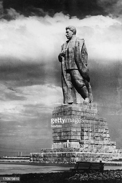 A monument to josef stalin designed by sculptor sergei merkurov standing at the entrance to the moskvavolga canal