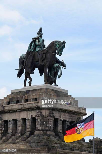monument to kaiser wilhelm i at koblenz, germany - ogphoto stock pictures, royalty-free photos & images