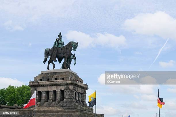 monument to kaiser wilhelm i at koblenz, germany - ogphoto stock photos and pictures