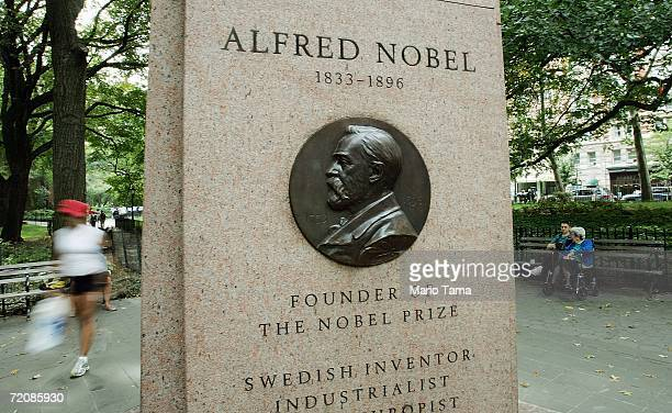 Monument to Nobel Prize founder Alfred Nobel stands October 4, 2006 in New York City. Americans have won all three of the Nobel Prizes announced this...
